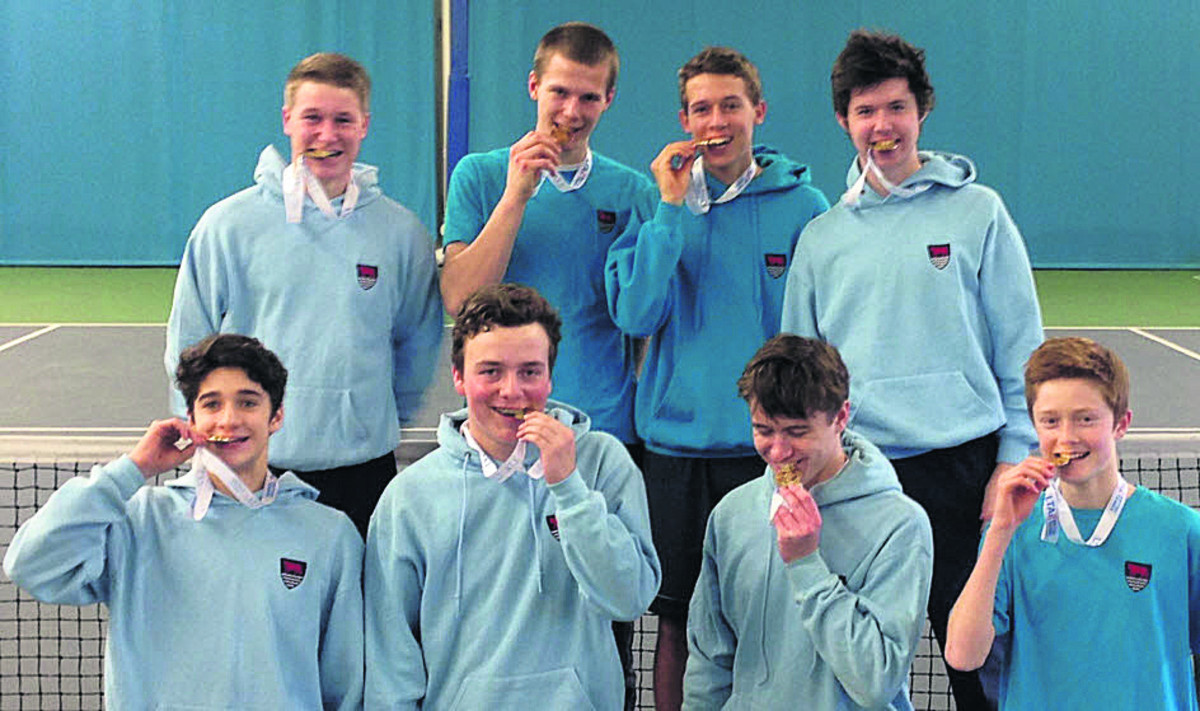 Oxfordshire Under 18 boys savour their medals. after winning the Division 3 title Back row (from left): Josh Crossley, Bobby Gosling, Alexis Canter, Tom Dyakowski. Front: Cameron Price, Max Heath, Giles Waterson, Edward Green