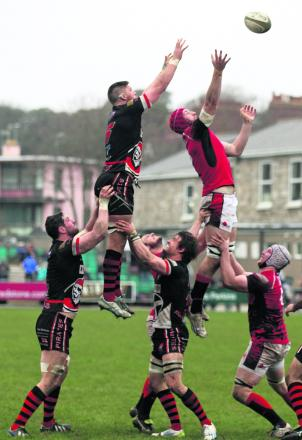 Pete Browne (right) competes at the line-out against Cornish Pirates last week