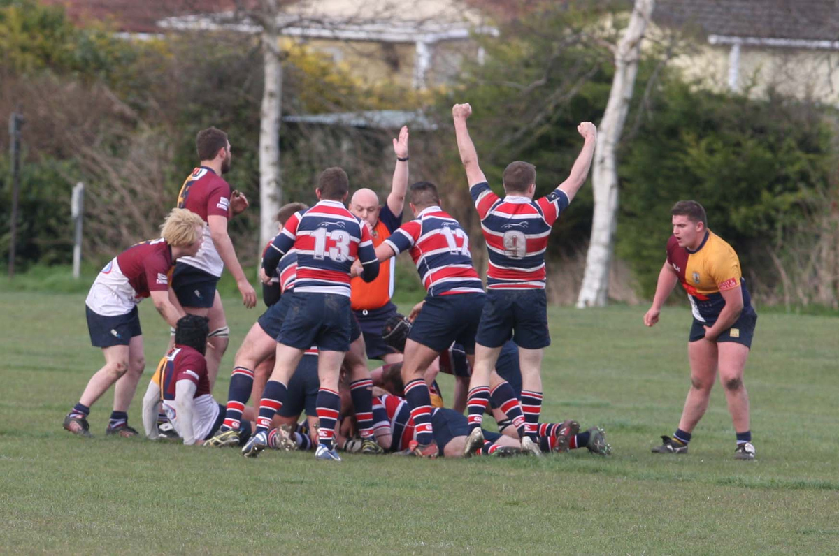 Grove celebrate their penultimate try against Oxford Harlequins from Jimmy Wallbridge, who is buried in the middle