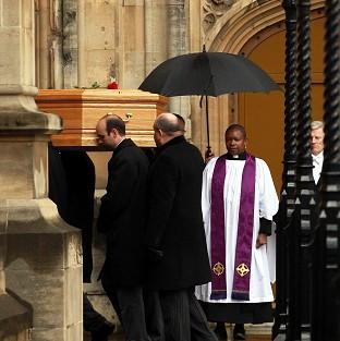Bicester Advertiser: Tony Benn's coffin arrives at the Palace of Westminster to be placed in the Chapel of St Mary Undercroft.