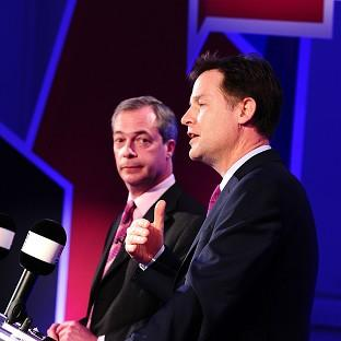 Bicester Advertiser: Deputy Prime Minister Nick Clegg, right, and Ukip leader Nigel Farage debate Britain's future in the European Union