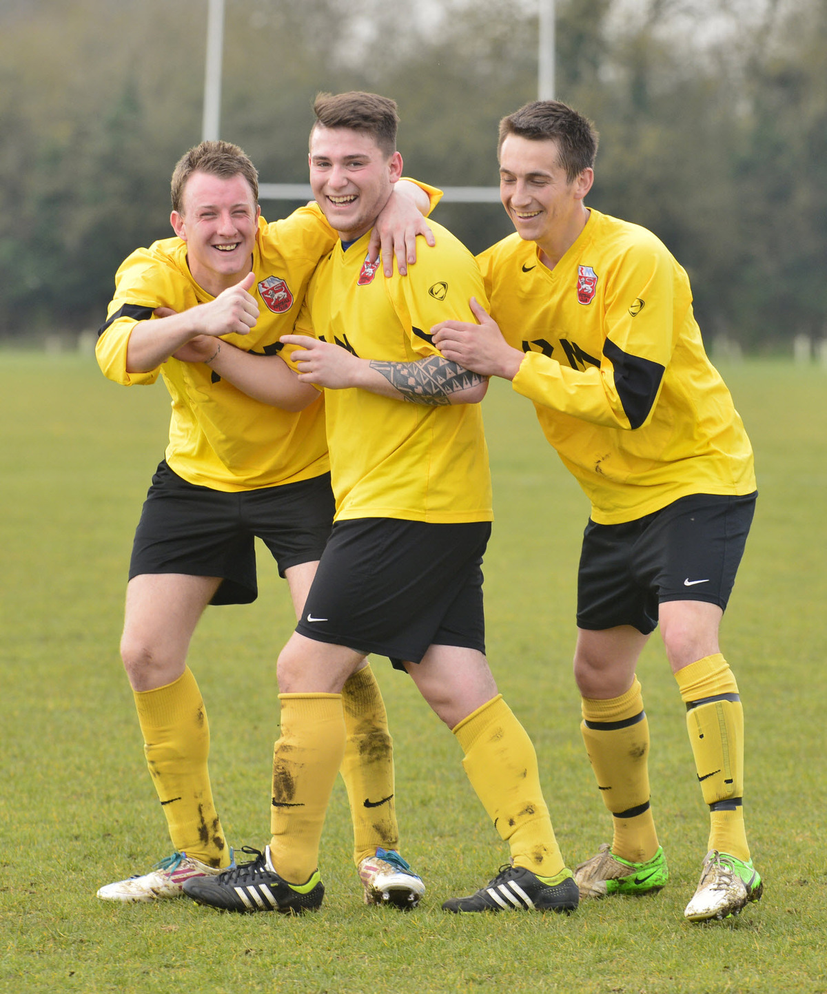 AFC Valley's Yousif Shahab (centre) celebrates scoring one of his two goals in the 4-0 home win over Sporting Headington Academicals in Division 1