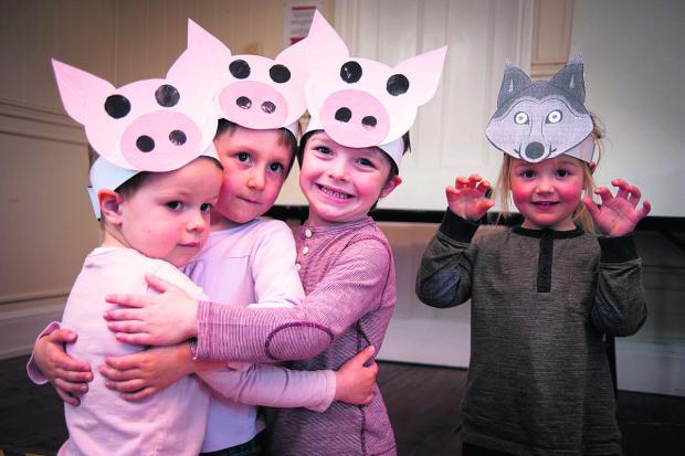 Nursery children, from left, Daniel Davis, James Stafford, Noah Hall and Amie Meakin delight their parents with an Easter performance of Three Little Pigs at Ipsden Early Days Nursery.  Picture: Aimee Kirkham