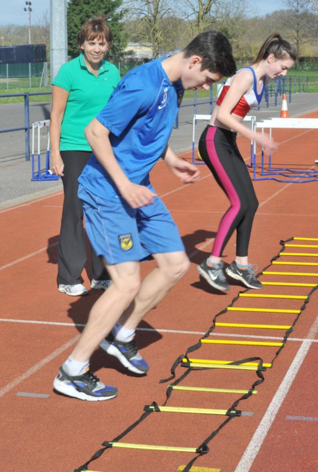 Bicester Advertiser: Callum and Jade O'Dowda go through their paces watched by Marcia Marriott