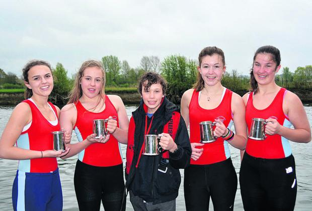 Wallingford's women's J15 coxed four with their trophies (from left): Poppy Dawe, Jess Polkey, Billy Lines, Ani Cook and Georgia Swiatoniowska