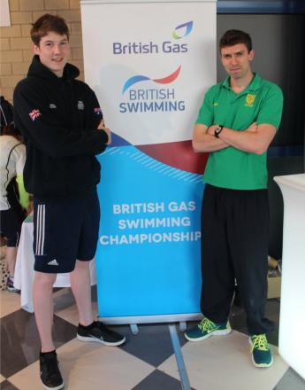 Niall O'Leary, who won silver, with club coach Scott Farnell in Glasgow