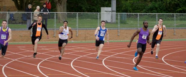 Bicester Advertiser: Radley's Ramone Smith powers to victory in the 200m at Peterborough where he also broke the Division 1 100m record