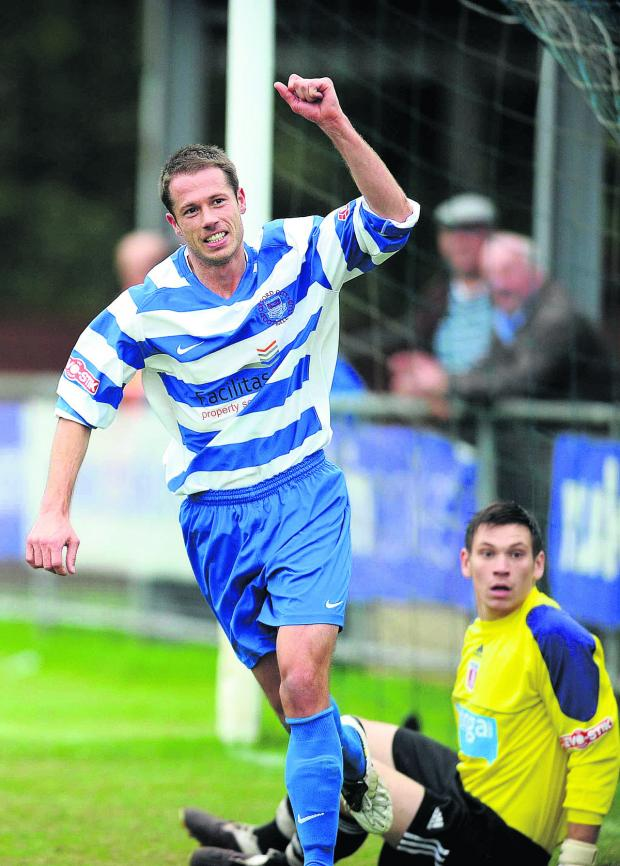 Bicester Advertiser: Steve Basham celebrates scoring for Oxford City