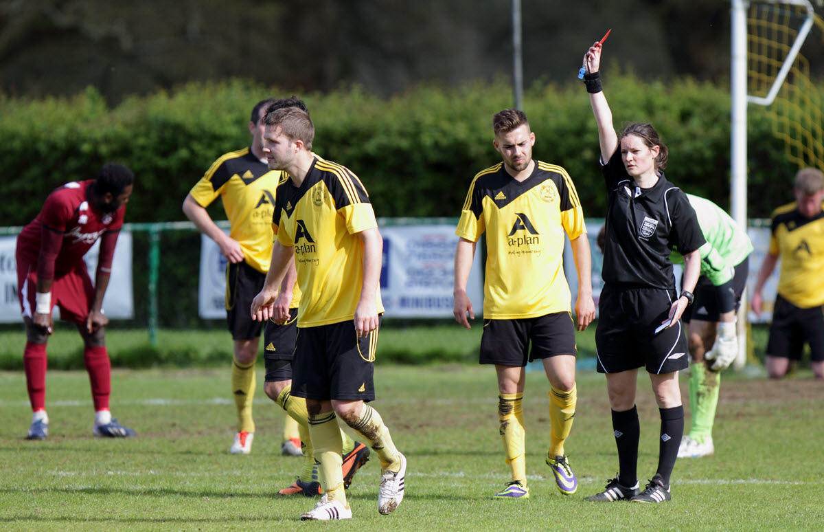 Referee Sian Piret sends off North Leigh's Wayne Turk