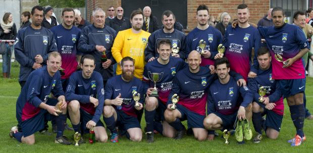 Highfield Social Club celebrate with the Ian Willoughby Cup after their 3-2 victory over Ashton Villa
