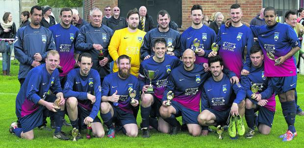 Highfield's players show their delight after their Ian Willoughby Cup triumph against Ashton Villa