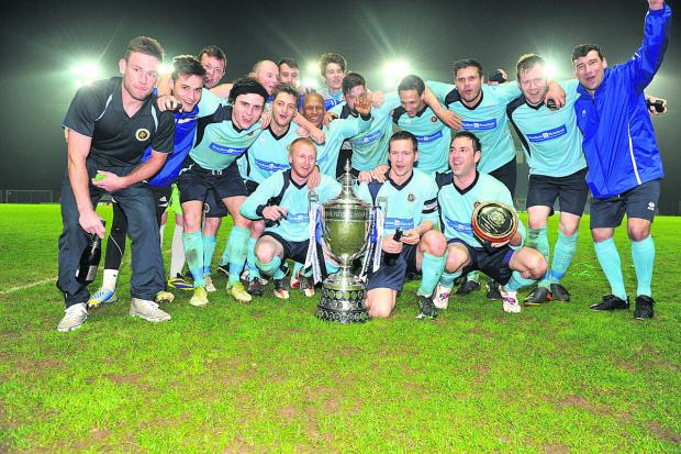 Ardley United celebrate the Oxfordshire Senior Cup final win against Kidlington