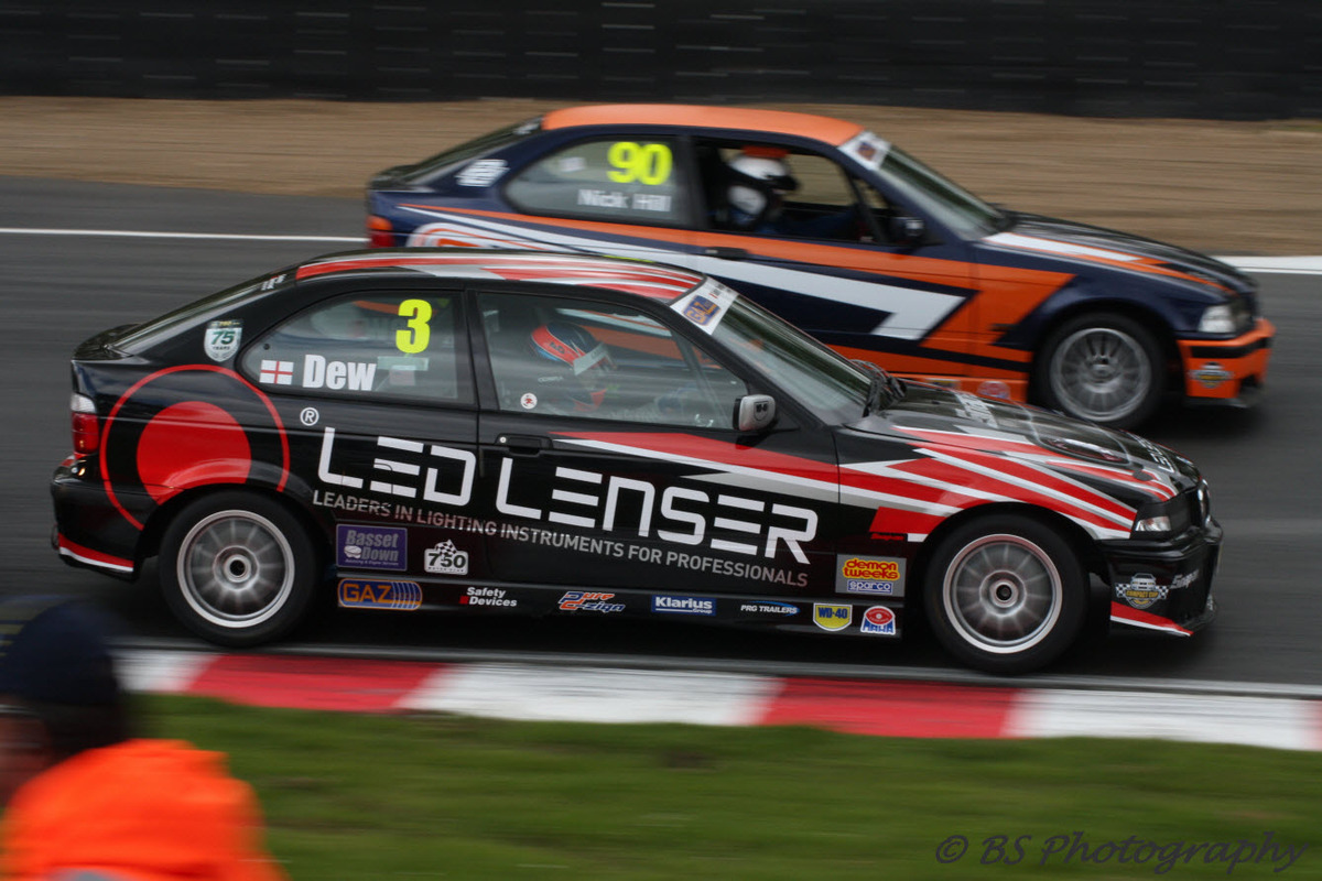Alex Dew (nearside) battles it out with Nick Hill at Brands Hatch