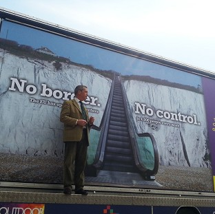 Ukip leader Nigel Farage launches the party's billboard campaign for the Euro-elections in Dover