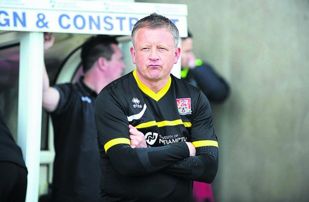 Chris Wilder in the Northampton dug-out