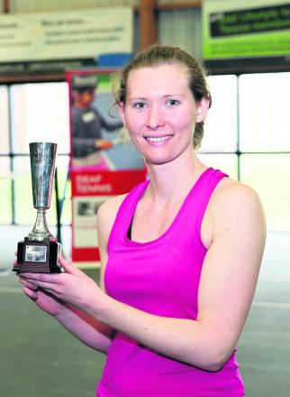 Beth Simmons with her women's singles trophy – one of three titles the Oxfordshire player won at the National Deaf Tennis Championships