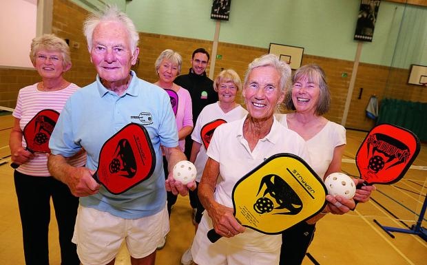Bicester Advertiser: Gill Smith and Brian Hook, front, with fellow pickleball players, from left, Pauline Foskett, Jacky Jordan, Ashley Chapman, Liz Evans and Mary Hancock