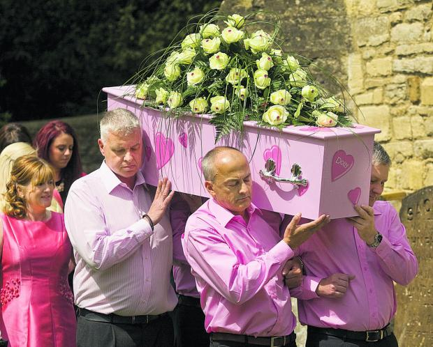 Bicester Advertiser: Mum Teresa follows the coffin at the funeral of Victoria Dyer