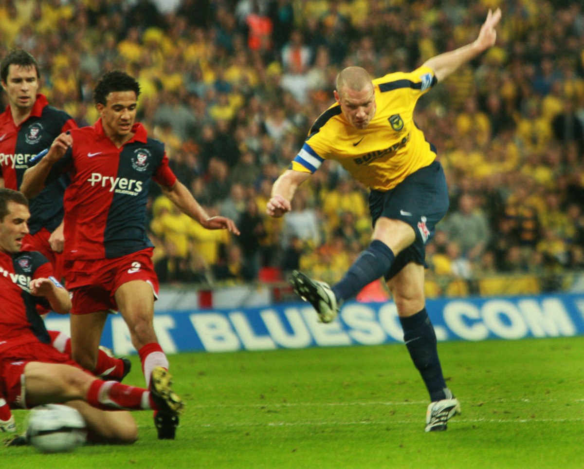 I fire home Oxford's second goal at Wembley as we beat York to win promotion back into the Football League