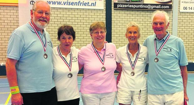 Bronze winners Ian Wilson, Frances Bird, Alison Eastgate, Gill Smith and Brian Hook