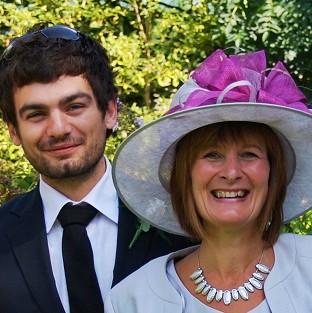 Bicester Advertiser: Janet Southwell, pictured with her son Gareth Huntley, has flown out to Malayasia to join the search for him
