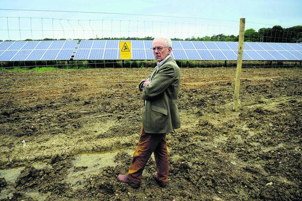 Bicester Advertiser: Michael Tyce, from the CPRE, visits the solar farm near Barnard Gate, West Oxfordshire
