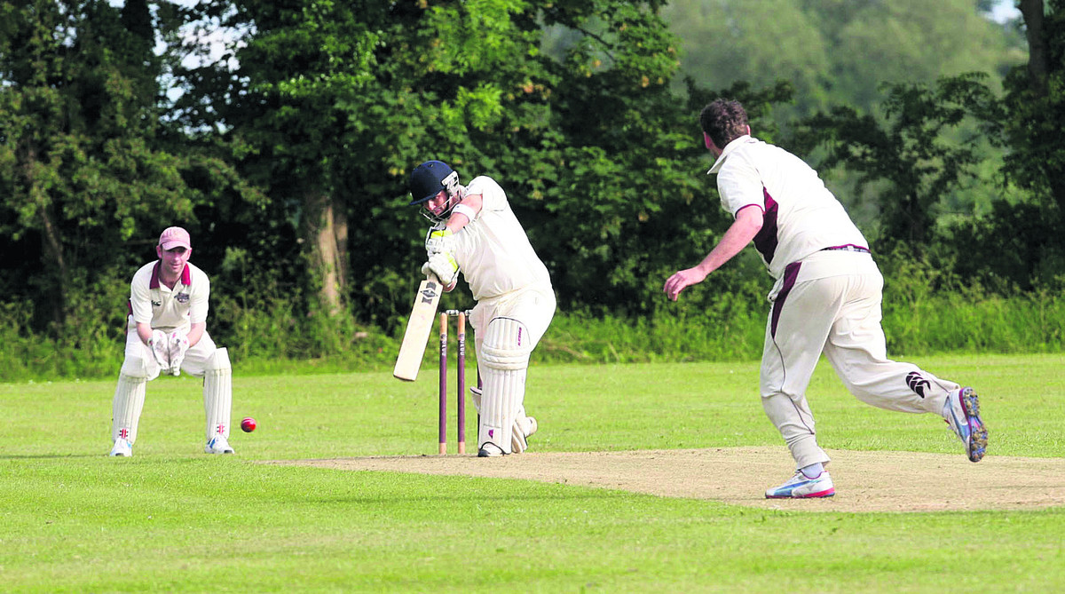 Marsh Gibbon's Joe Leonard hits a four in their 55-run defeat away to Cairns Fudge