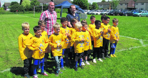 One of Bardwell's teams show off their new kit which is sponsored by the Jersey Lodge of Freemasons
