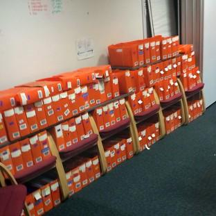 Boxes of passport applications which have piled up in an office in Liverpool