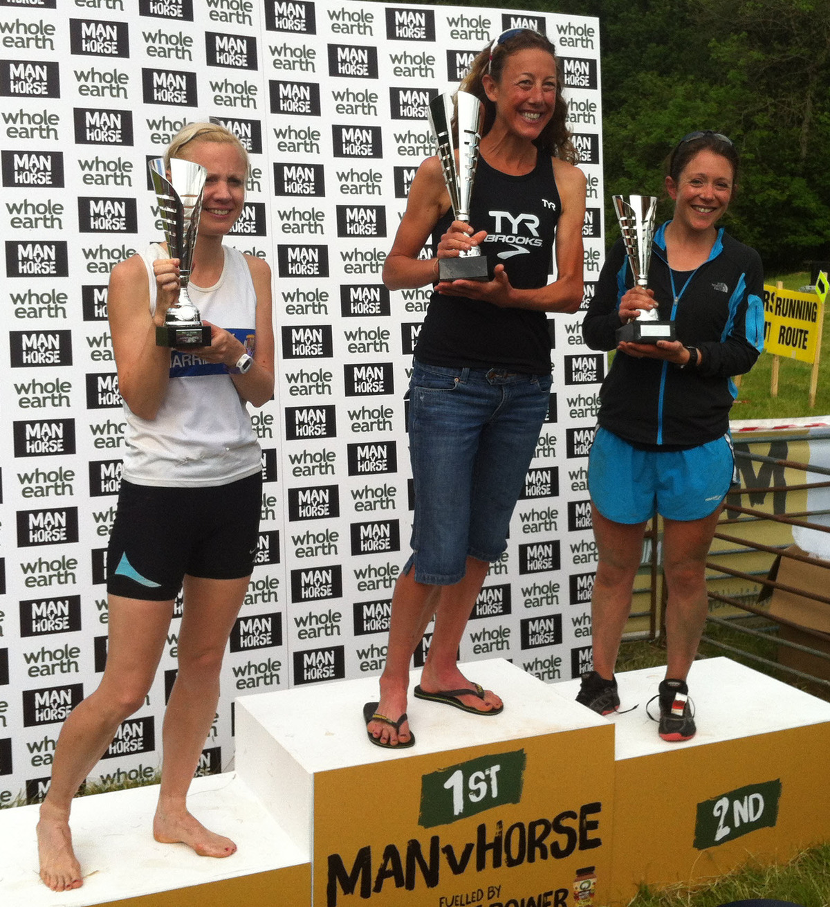 Ladies' runner-up Jessica Bruce (right) shares the podium with winner, ironman legend Chrissie Wellington, and third-placed Emma Dalton