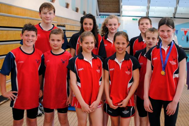 City of Oxford's swimmers pictured at Crawley. Back row (from left): Conor Bryan, Chiara de Vita, Maia Little, Lewis Gilchrist. Front: Jacob Adams, Christopher Littleton, Erin Gilchrist, Megan Smit, James Austen, Natasha Fenton
