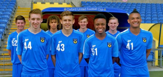 Oxford United's scholars line up at the Kassam Stadium yesterday. Back row (from left): Lewis Hayden, Miles Welch-Hayes, George Jeacock, Cian McCormack. Front: Kieran Andrews, Seth Humphries, Luke Hastings, Drew Ricketts