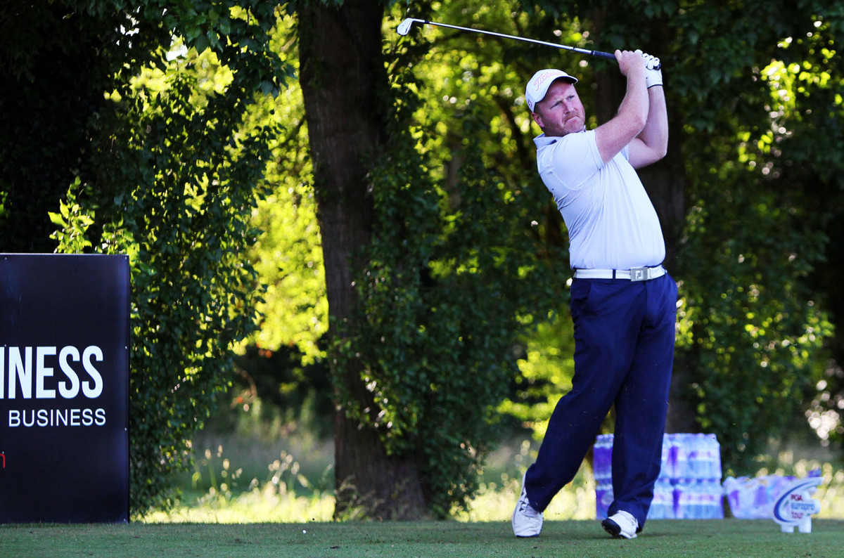 Frilford Heath's Tom Fleming on the tee in the Buildbase Open at his home club