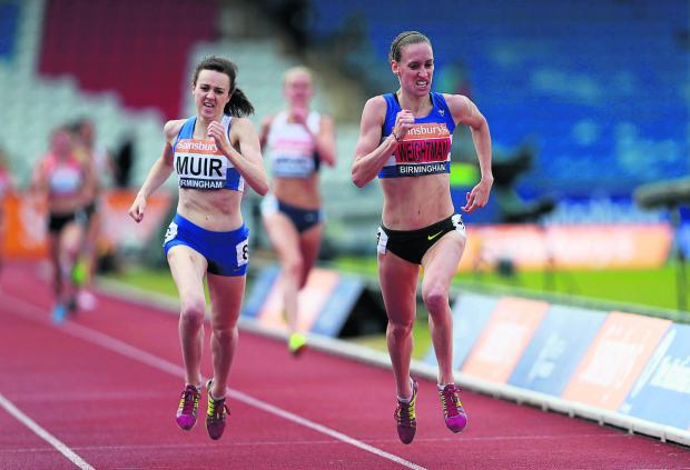 Hannah England (background) has no answer to Laura Muir and Laura Weightman as they sprint clear to take the first two positions in the women's 1,500m final