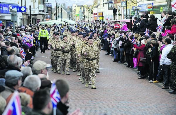 Soldiers from 23 regiment on parade in Bicester in November 2009
