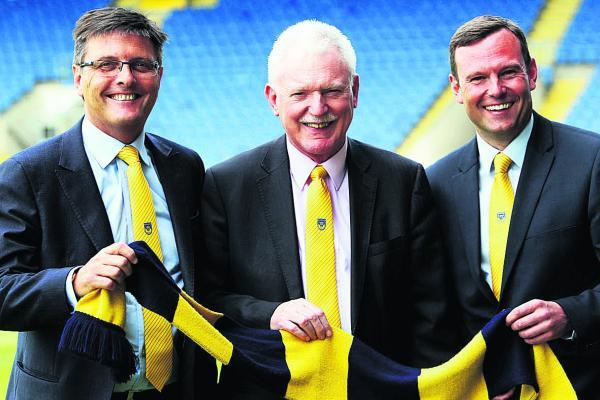 Bicester Advertiser: From left, Darryl Eales, Ian Lenagan and Mark Ashton at the Kassam Stadium yesterday          	 Picture: Ed Nix