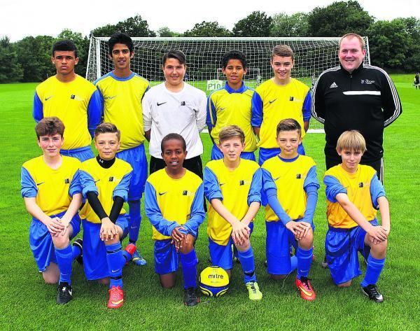 Bicester Advertiser: Oxford Academy Under 13s. Back row (from left): Luke Elliott, Moin Dogar, Matty Simms, Kyran Lofthouse, Harley Giles, Grant Thomas (manager). Front: Jamie McSporran, Cian Gaul, Twariq Yusuf, Tom Griffiths, Joseph Gaul, Rhys King