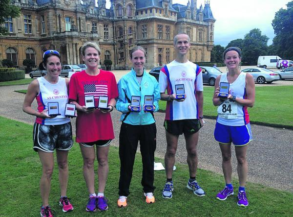 Alchester's prize-winners at the Waddesdon Manor Summer 5K (from left): Claire Court, Samantha Usher, Jenny McBain, Richard Gould, Lilla Somogyi