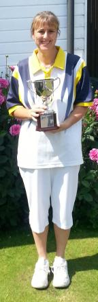 Katherine Hawes with the singles trophy