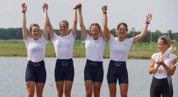 Oxford University's winning crew (from  left): Becky Lane, Sophie Philbrick, Ellie Backhouse and Sarah Robinson
