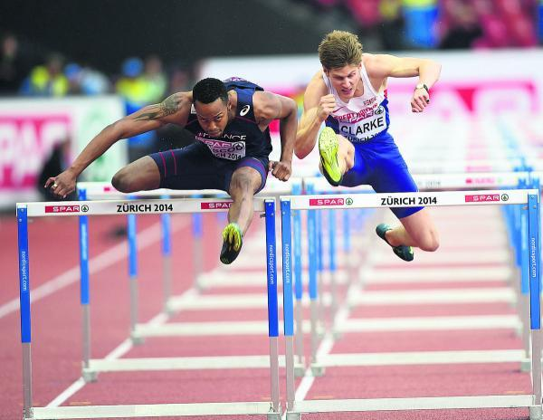 Lawrence Clarke (right) during the men's 110m Hurdles heats with France's Dimitri Bascou (left) in the European Championships
