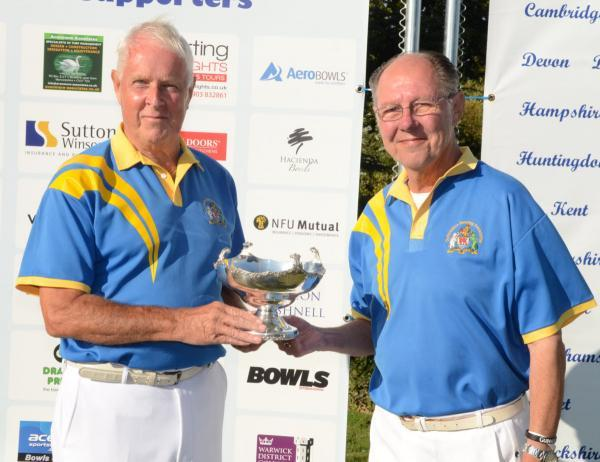 Mike Petersen (left) and Alan Ley, with the runners-up trophy at the National Senior Pairs Championship