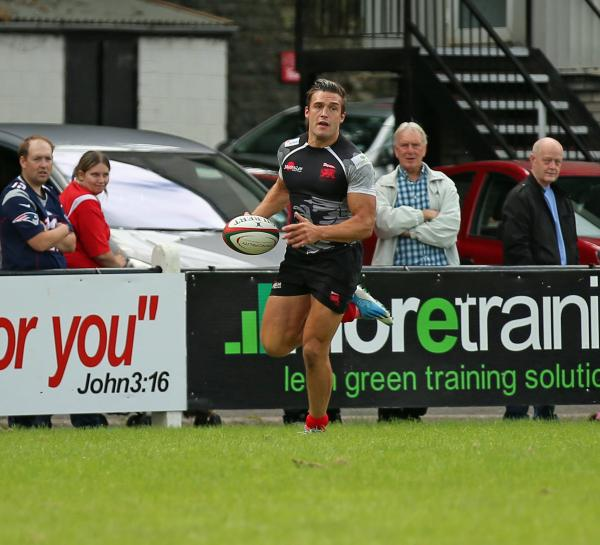 London Welsh wing Seb Stegmann cruises in for one of his two tries at Pontypridd                                           Picture: Martin John