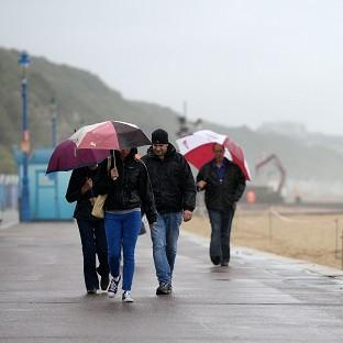 More umbrellas than swimming costumes on Bournemouth beach