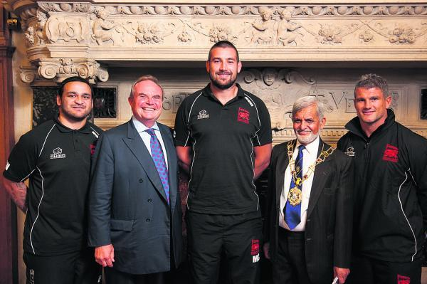 Members of the London Welsh squad at Oxford Town Hall this week. From left: Piri Weepu, Bleddyn Phillips (London Welsh chairman), Matt Corker, Mohammed Abbasi (Oxford L