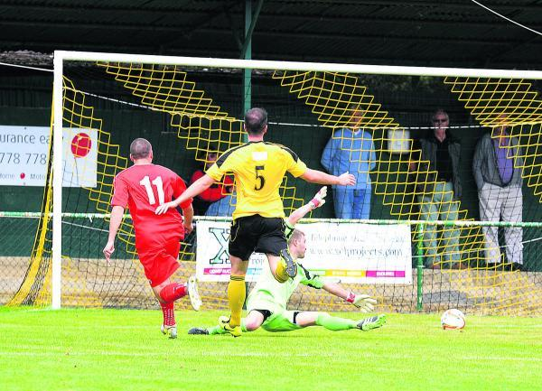 Dan Rapley fires Flackwell Heath into a first-half lead at North Leigh on Saturday