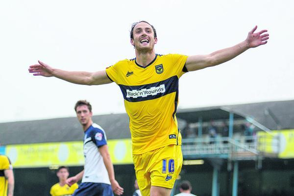 Danny Hylton celebrates his goal