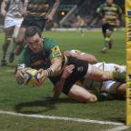 Bicester Advertiser: George North scored two tries before going off with a head injury