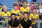 Supporters met Oxford United's players after the open training session at the Kasssam Stadium yesterday. Back row (from left): Ollie Holsman, Ryan Smewin, Conor Belcher and Spencer Bustin with Danny Rose (front left) and Danny Hylton Pictures: Steve Whe