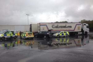 Suspected illegal immigrants arrested from back of a lorry